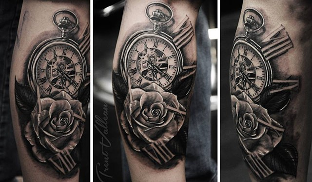Watch and Roses tattoo by Trent Valleau