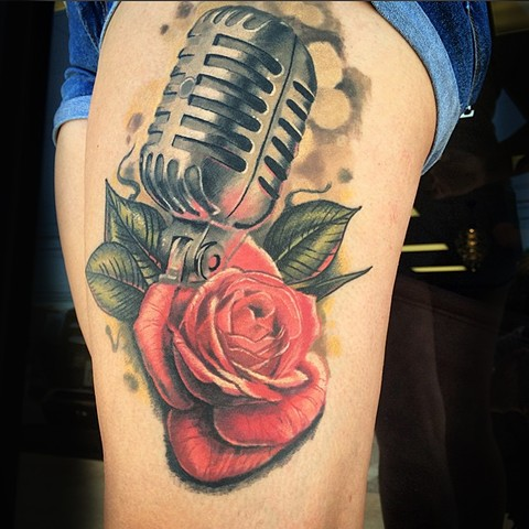 Mic and roses tattoo by Trent Valleau