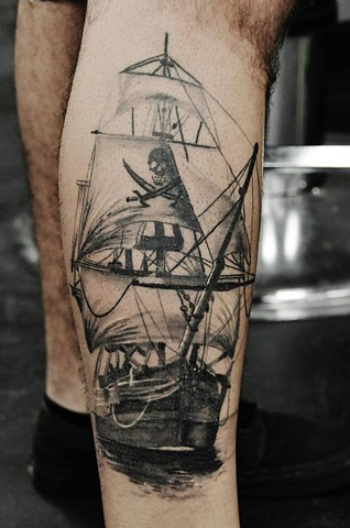 Realistic ship tattoo by Trent Valleau