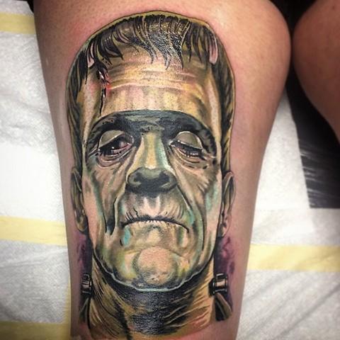 Frankenstein tattoo color portrait by Trent Valleau