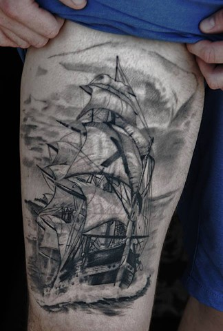This is healed work, a ship tattoo I did