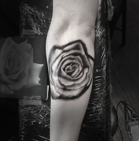 rose black and grey realism tattoo by Allie Valleau