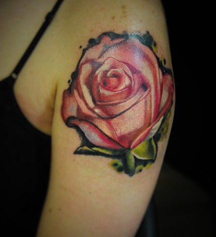 pink rose tattoo by Trent Valleau