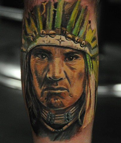 Native American portrait tattoo by Trent Valleau