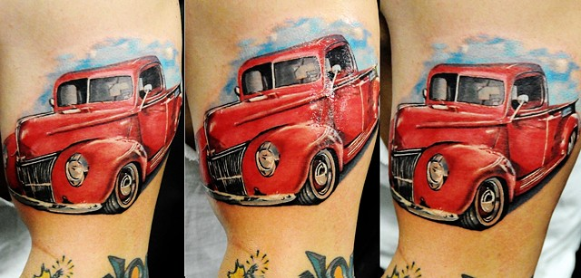 Hot rod truck tattoo by Trent Valleau