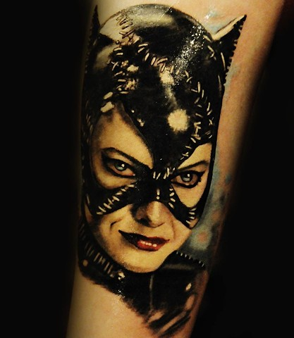 Catwoman portrait tattoo by Trent Valleau