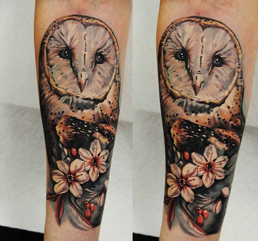 Realistic Owl and Flowers tattoo by Trent Valleau
