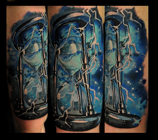 Hourglass and lightning tattoo by Trent Valleau