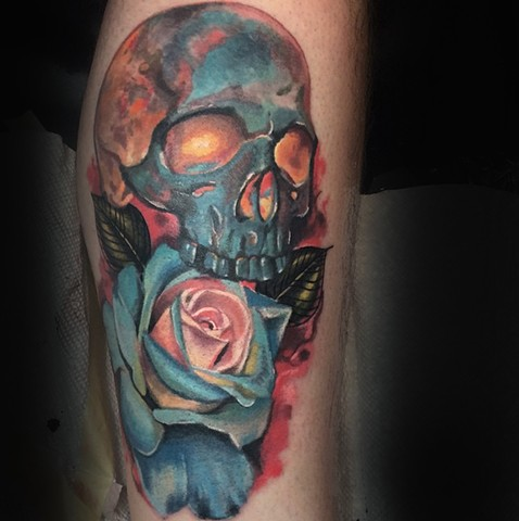 Color Skull and rose tattoo realistic by Trent Valleau