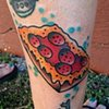 Pizza tattoo by Lucky Mac