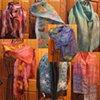 Shibori Dyed Habatoi Silk Scarves  Hand Dyed Chiffon Silk Nuno Felted Scarves  Hand Dyed Habatoi Silk Ribbon Scarves