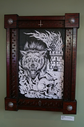 Wolf/Rune (Ink, Colored Pencil on Coquille) Frame built by Jeremiah Loui.  Gift for Ian Camp