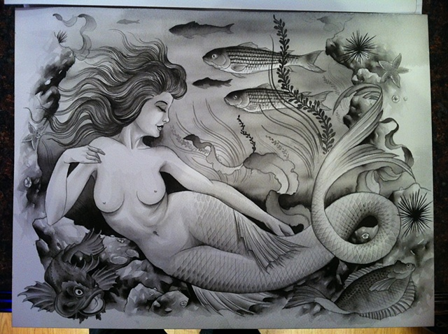 Newcastle Mermaid (Sumi Ink) Sold to Mike Nash