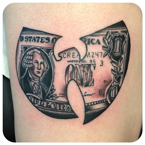 wu tang dollar bill logo tattoo