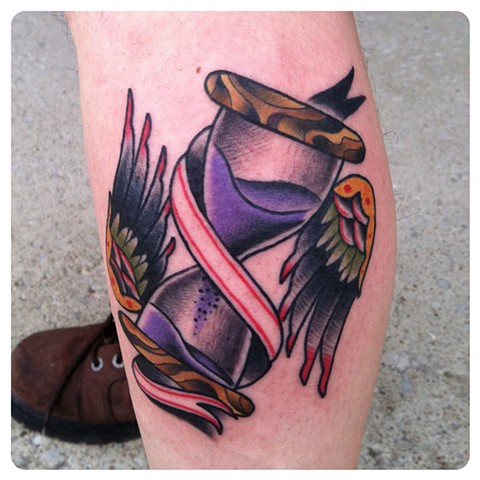 Hourglass banner tattoo by shawn patton