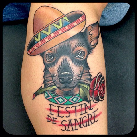 dog portrait tattoo rose mexico