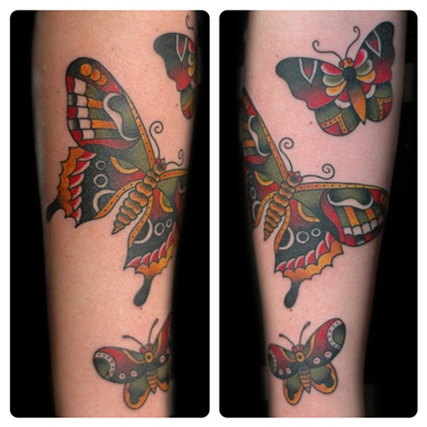 Traditional Sailor Jerry Butterfly flash tattoos done by Shawn Patton