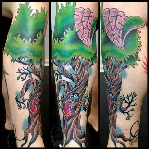 tree tattoo heart brain shawn patton tattoo by leg tattoo color