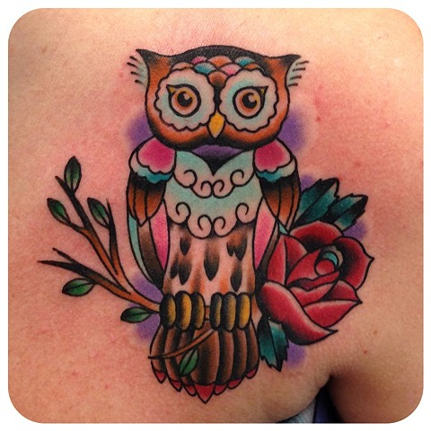 girly colorful owl tattoo by shawn patton
