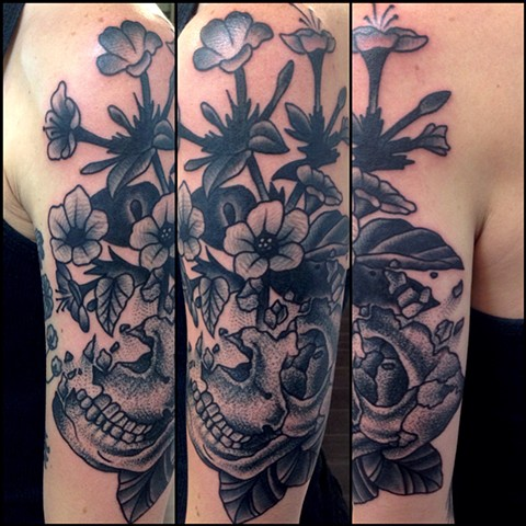 Skull and Flowers