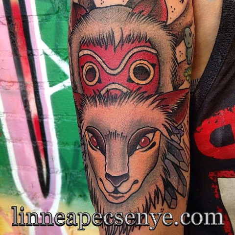 princess mononoke spirit of the forest tattoo by LINNEA in asheville nc chicago