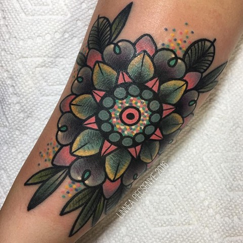 Colorful mandala tattoo asheville tattoo linnea tattoos chicago tattoo