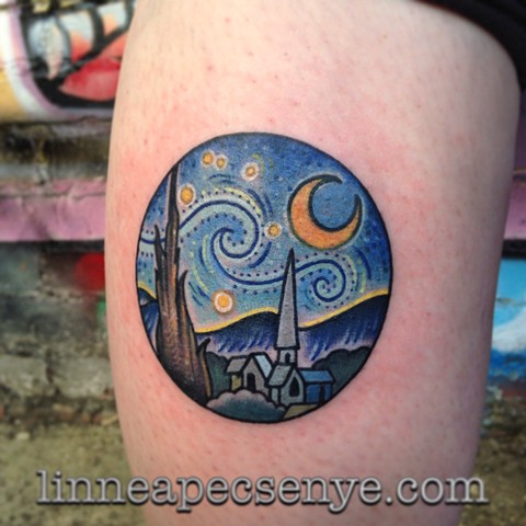 Custom van gough starry night calf tattoo by Linnea In Asheville nc