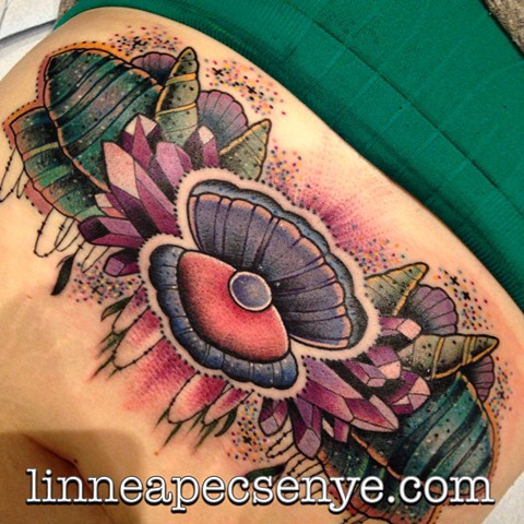 Seashell and crystal underboob tattoo by linnea in asheville