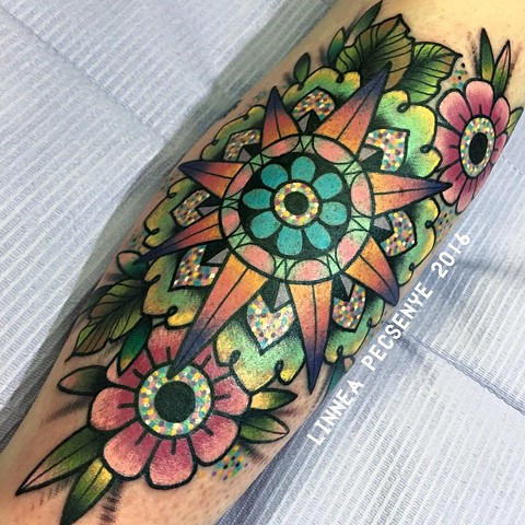 Colorful mandala tattoo linnea tattoos asheville tattoo