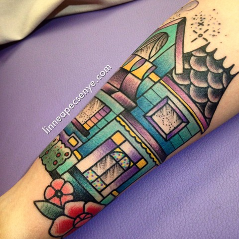 Victorian house tattoo by Linnea in Asheville North Carolina tattoo