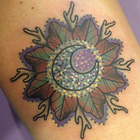 moon leaf antler flower mandala tattoo by LINNEA in asheville nc