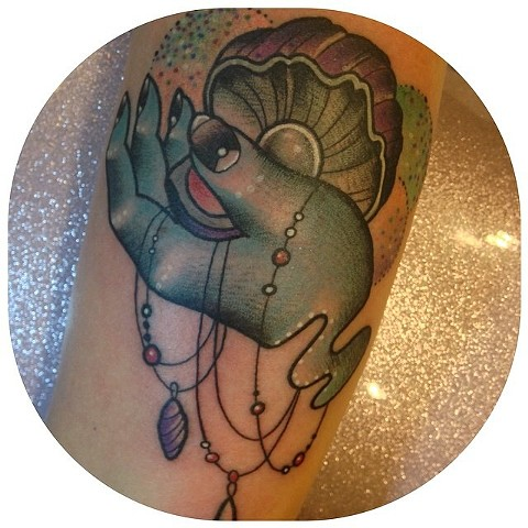 Sea witch hand and oyster she'll decorative nautical cute tattoo by Linnea in Asheville