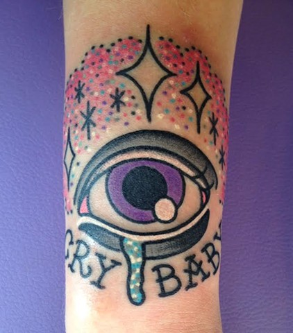 crybaby eyeball glitter tattoo by LINNEA in asheville nc