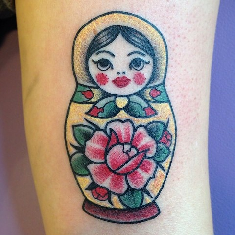matryoshka russian nesting doll tattoo by LINNEA in asheville nc