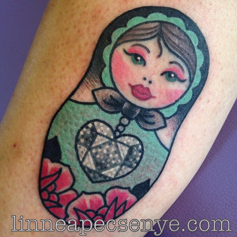 russian nesting doll matryoshka tattoo by LINNEA in asheville nc