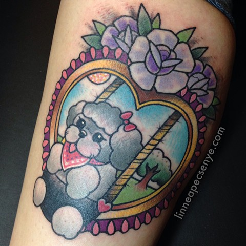 Shih Tzu tattoo dog in a baby swing tattoo by Linnea in Asheville North Carolina tattoo