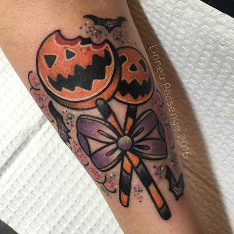 Halloween candy tattoo by Linnea in Asheville nc