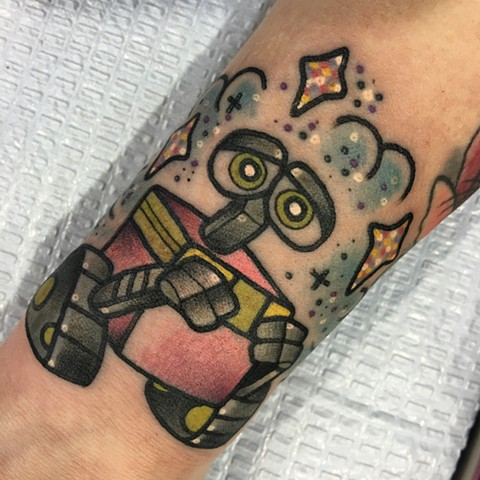 Cute wallE tattoo by Linnea in Asheville nc