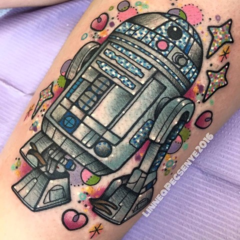R2D2 tattoo star wars tattoo cute star wars tattoo linnea tattoos asheville tattoo chicago tattoo