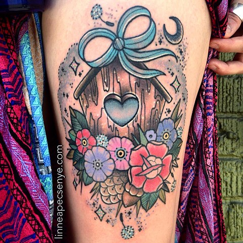 cute floral flower birdhouse tattoo with bow dandelion tattoo glitter tattoo by LINNEA in asheville nc chicago