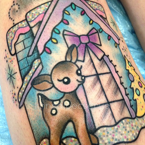 Putz holiday house tattoo by Linnea Pecsenye @linneatattoos in Asheville, NC