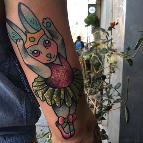 Lisa frank ballerina bunny tattoo linnea tattoos asheville tattoo chicago tattoo