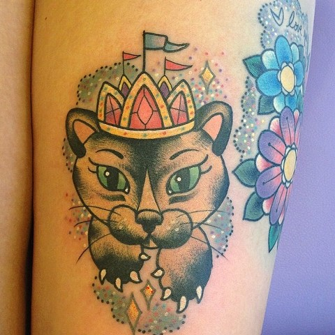 princess kitty cat tattoo catattoo cattoo by LINNEA in asheville nc