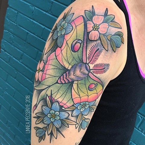 Luna moth tattoo linnea tattoos asheville tattoo chicago tattoo