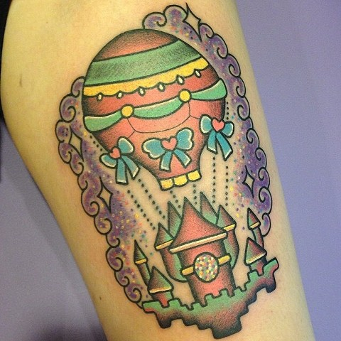 hot air balloon castle color traditional tattoo by LINNEA in asheville nc