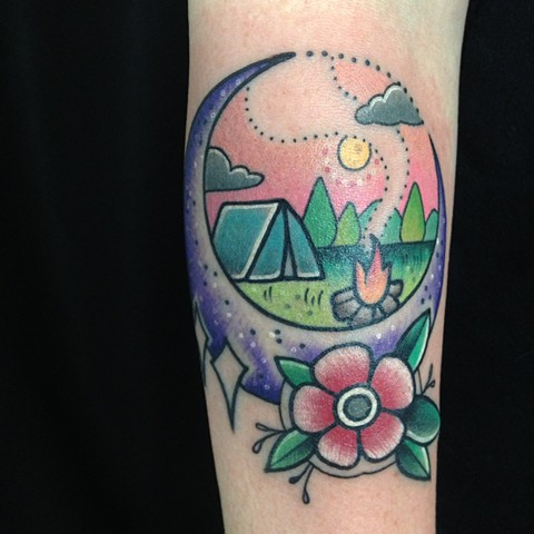 colorful cute flower moon nighttime camping tent tattoo by LINNEA in asheville nc