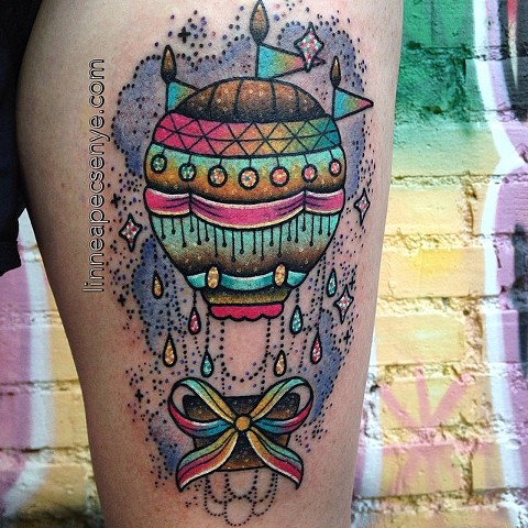 glittery hot air balloon tattoo by LINNEA in asheville nc chicago