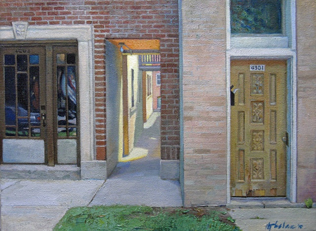 three different types of doorways in urban setting with patch of grass by Mary Phelan