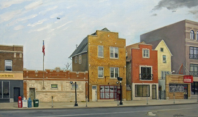 a street view of Western Ave., Chicago, with veterans' meeting hall, false fronts, traffic cameras and a blimp by Mary Phelan