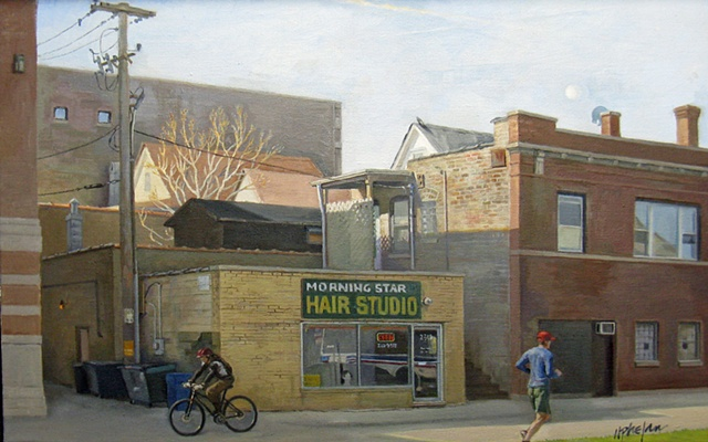 neighborhood beauty salon, Morningstar, and surrounding buildings in morning light, with jogger and cyclist by Mary Phelan